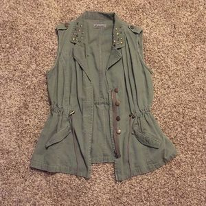 Jackets & Blazers - Army green jacket with studded collar